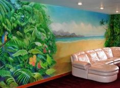 Tropical beach mural by Charles Andrade for private residence in  New York