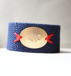 Personalized+Bracelet+Navy+Stitched+Monogram+by+SweetAuburnStudio,+$40.00