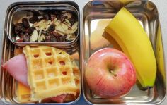 Healthy Lunch Ideas: Savory waffles sandwich, apple, banana, raisins, and almonds. #realfood #lunchbox #healthylunch @Natural Family Today