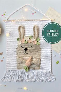 Crochet wall hanging pattern with bunny, Nursery rabbit wall decor tutorial, Diy baby room tapestry. Crochet Wall Art, Crochet Wall Hangings, Tapestry Crochet, Crochet Bunting, Crochet Rug Patterns, Easy Crochet, Crochet Decoration, Crochet Home Decor, Pixel Crochet