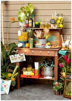 Tiki Bar (Jessica Wilcox for Pottery Barn) #luaupartyideas #hawaiianparty