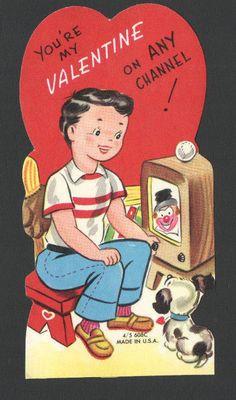 UnUsed Vintage Valentine Card Boy & Dog Watching Cartoons on Old Television Set