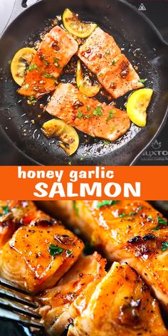 Easy salmon with honey garlic sauce is one of the best salmon recipes. It's garlicky, sweet and sticky with simple ingredients. Takes only 15 mins to make salmon dinner!