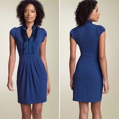 BCBGMaxAzria Blue Cap Sleeve Dress Beautiful dress by BCBGMAXAZRIA. New without tags. Features an exquisite ruffled collar, cap sleeves, and pleated draped skirt.  Perfect for any occasion. BCBGMaxAzria Dresses
