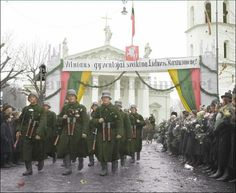 Lithuanian soldiers parading in Vilnius