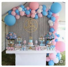 Stunning balloons 30 in total a mix of Qualatex brand balloons in Pink, Blue and White perfect for making a balloon garland for a gender reveal baby shower party!!...