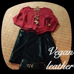 Sanctuary Vegan Leather Skirt Vegan leather skater skirt. Black. Great condition. Super fun. Paired with crop top also for sale in my closet. Fully lined. Don't miss out. Sanctuary Skirts Circle & Skater