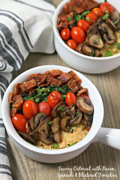 For your next brunch or when you want breakfast for dinner, make this Savory Oatmeal with Bacon, Spinach and Blistered Tomatoes from CookingInStilettos.com.  This savory oatmeal recipe will be a chic and comforting favorite | @CookInStilettos