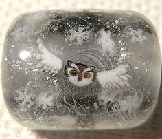 """Flying Owl In The Wind,"" Tonbodama  Glass bead by Ayako Hattori, Japanese artist.  So beautiful!"