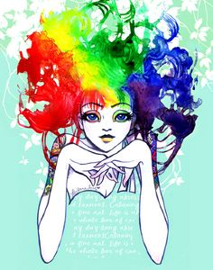 """Spectra"" The Rainbow Hair Girl Art. By Leilani Joy. #tattoo #watercolor"