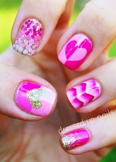 Three Cool Cats Blog:  http://www.shopthreecoolcats.com/blog/valentines-day-nail-art-painted-love/  (Source : pinterest.com/pin/42362052716997736/)  #nails  #valentines  #hearts  #pink  #glitter  #beauty  #fashion  #threecoolcats