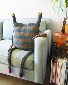Über cute sweater monster. Looks perfect sitting on your couch!