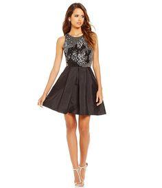 949adda01cd Gianni Bini Social Michelle Beaded Bodice Taffeta Skirt Dress Metallic  Cocktail Dresses