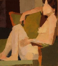 Jeremy Durling - Katie & the Green Chair -- 10 x 9, Oil on Primed Paper on Panel