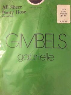 Vtg Gimbels Gabrielle Plum Pantyhose All Sheer Sandalfoot Size Medium Rare | eBay