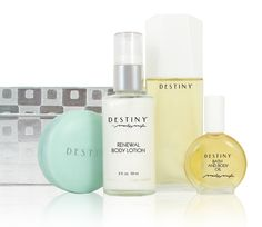 Destiny Silver Checkers Gift Collection (Includes Eau De Parfum + Scented Soap + Renewal Lotion + Bath and Body Oil). Soft, romantic, and quietly compelling. Created with the essences of pure white flowers for a light, clean scent. Includes: 1.6 oz Eau de Parfum, 3 oz Scented Soap, 2 oz Renewal Body Lotion, and .47 oz Bath and Body Oil.