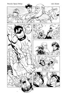 Personal exercise of inking on Ryan Ottley's pencils: The original pencil is here: http://wya.deviantart.com/art/HI-RES-page-INV74-for-inkers-177766491