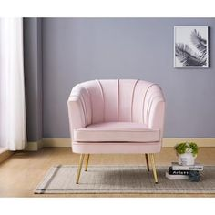 Pink Accent Chair, Velvet Accent Chair, Accent Chairs, Pink Ottoman, Chair And Ottoman, Chair Upholstery, Chair Fabric, Pink Loveseat, Pink And Grey Room