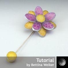 """Polymer Clay PDF Tutorial """"Etched Flower Brooch"""" plus a free Polymer Clay Basics PDF. €8,00, via Etsy."""