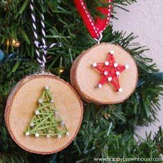 Christmas Tree Wood Slice String Art Ornaments   Breathtakingly Rustic Homemade Christmas Decorations