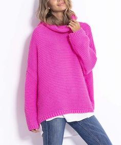 Reach for this slouchy oversize sweater when you're craving coziness. The snug cowl neckline completes your cool-weather look. Cold Weather Fashion, Pink Outfits, Cowl Neck, Pretty In Pink, Hot Pink, Sweaters For Women, Pullover, Snug, Neckline