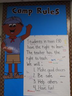 "Camping themed classroom- We had ""Camp Rules"" instead of class rules."