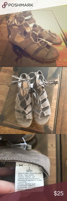 Old Navy gladiator sandals! Suede gladiator tie up sandals! Wrap around your ankle!! These were never worn but I've seen a lot of people love these for the summer! They look awesome with cute with summer dresses and are very soft! They add a little more to your outfit!  Old Navy Shoes Sandals