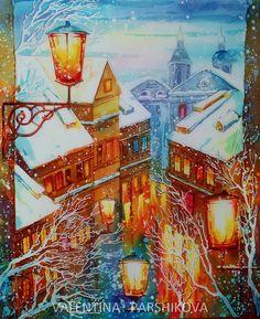 зимний вечер. копия, имя автора мне неизвестно. горячий батик 60x50 | by Valentina Parshikova