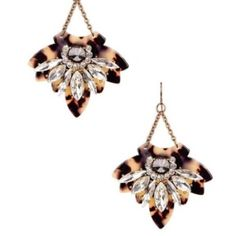 White jeweled tortoise shell dangle earrings NWT. Lightweight, super cute. 20% off if bundled. Please do not purchase this listing, if interested comment and I will make you a new listing  T&J Designs Jewelry Earrings