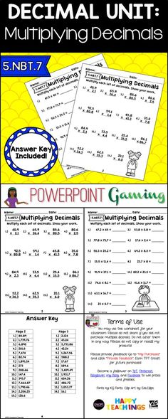 Reinforce decimal skills with this multiplication worksheet. In this worksheet set, students can practice multiplying decimal numbers. This set includes 2 worksheets, one with 15 horizontal numbers and a second with 15 vertical numbers. Some answers requi Math 5, 5th Grade Math, Math Class, Multiplying Decimals, Multiplication Worksheets, Decimal Number, Math Skills, Math Lessons, Too Cool For School