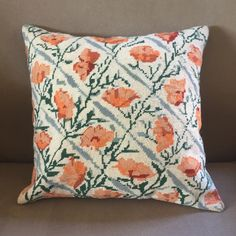 """Re-made needlepoint tapestry cushion cover - hand stitched Ehrman """"Lattice poppies"""" by Deborah Kemball - x square pillow Cushion Inserts, Needlepoint Kits, Cushions, Pillows, Gifts For Mum, Tapestry Wall Hanging, Beautiful Hands, Hand Stitching, Poppies"""
