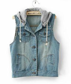 Sleeveless Denim Vest Hooded Jacket. Now I have an idea for my old black jacket transformation )