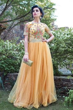 Cream Anarkali Salwar Kameez Online From Hdbazaar