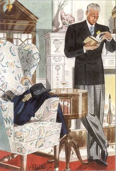 Man reading in semi-formal day wear. Stroller jacket and checked slacks with his accessories on the chair. Esquire, April Illustration by Laurence Fellows. In the Fellows realigned his focus to more detailed fashion illustrations. Mode Vintage, Vintage Men, Vintage Fashion, Vintage Clothing, Fashion Illustration Vintage, Illustration Art, Fashion Illustrations, Business Illustrations, Style Vintage Hommes
