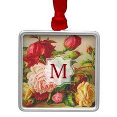 #createyourown #customize - #Monogram Vintage Victorian Roses Bouquet Flowers Metal Ornament