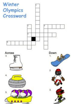 Winter Olympics Worksheets   winter olympic crossword puzzle