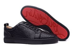 Christian Louboutin Rantulow Flat Python Leather Low Top Sneakers Black