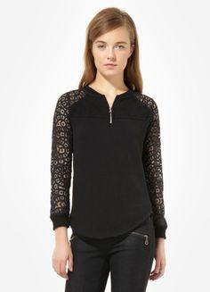 Lace Henley Sweatshirt