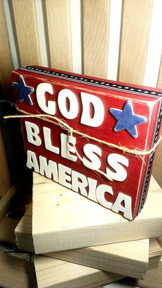 Wood Block Sign Patriotic Decor Stars and by SilverHopeDesigns