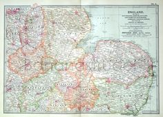 1903 Antique Map of England Section III by bananastrudel on Etsy, $25.00