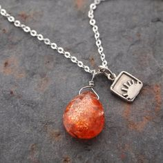 Silver Sun and Sunstone Necklace by wildharegems4 on Etsy, $35.00