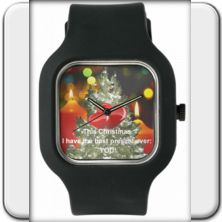 """Wristwatch: """"This Christmas I have the BEST present ever: You!"""" A very meaningful present! You cannot express better how much you cherish his or her love!       The loving confession This Christmas I have the BEST present ever: You!"""" is also available in Spanish, French, Italian and German language!  In six exciting colors!"""