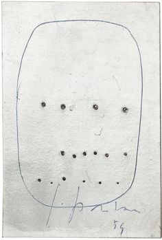 LUCIO FONTANA Concetto Spaziale, 1959 Pens on perforated silver foil mounted on gold foil backing 4 1/2 x 3 5/8 inches