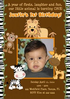 JUNGLE ZOO ANIMALS CUSTOM BIRTHDAY INVITATIONS | eBay