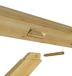 This construction detail shows a timber frame knee brace with a centered tenon and the matching mortise in the post and beam.