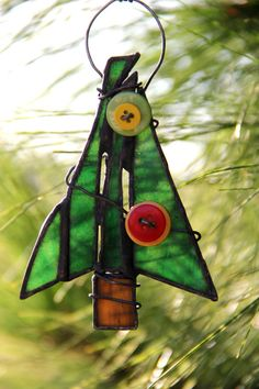 Rustic Button Christmas Tree Ornament