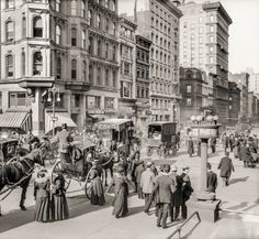 "New York circa 1908. ""Fifth Avenue and 42nd Street."" Where hustle meets bustle. 8x10 inch dry plate glass negative, Detroit Publishing Company."