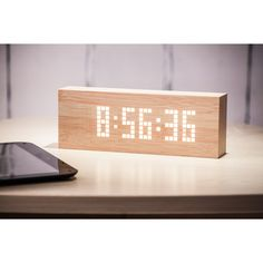 PRODUCTS :: LIVING AND DESIGN :: Accessories, Decorations :: Clocks :: Table clocks :: Message Click Clock - Beech with White LED
