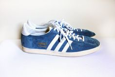 1968 Blue Suede Adidas Gazelle Sneaker 11 by LasCruxes on Etsy, $45.00