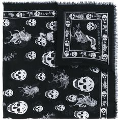 Alexander McQueen skull and badge scarf (£145) ❤ liked on Polyvore featuring men's fashion, men's accessories, men's scarves, black and mens skull scarves